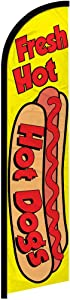 Infinity Republic - Hot Dogs Windless Full Sleeve Banner Swooper Flag - Perfect for Restaurants, Diners, Food Trucks, Markets etc!
