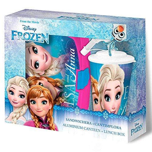 Disney Frozen Set Sandwichera Plástico Y Vaso con Caña, (Kids Euroswan KD-WD19507)