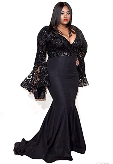 Veilace Womens Plus Size Prom Dress Long Sleeves Sequins Lace