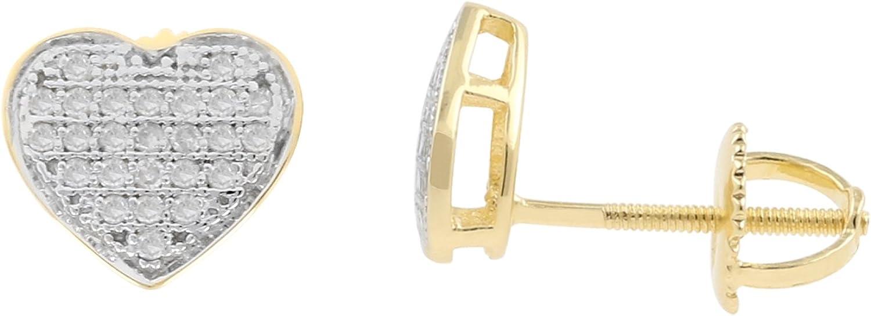 0.19ct Diamond Heart Shape Mens Iced Stud Earrings in 10kt Yellow Gold-1//5 CTTW H-I, I1-I2