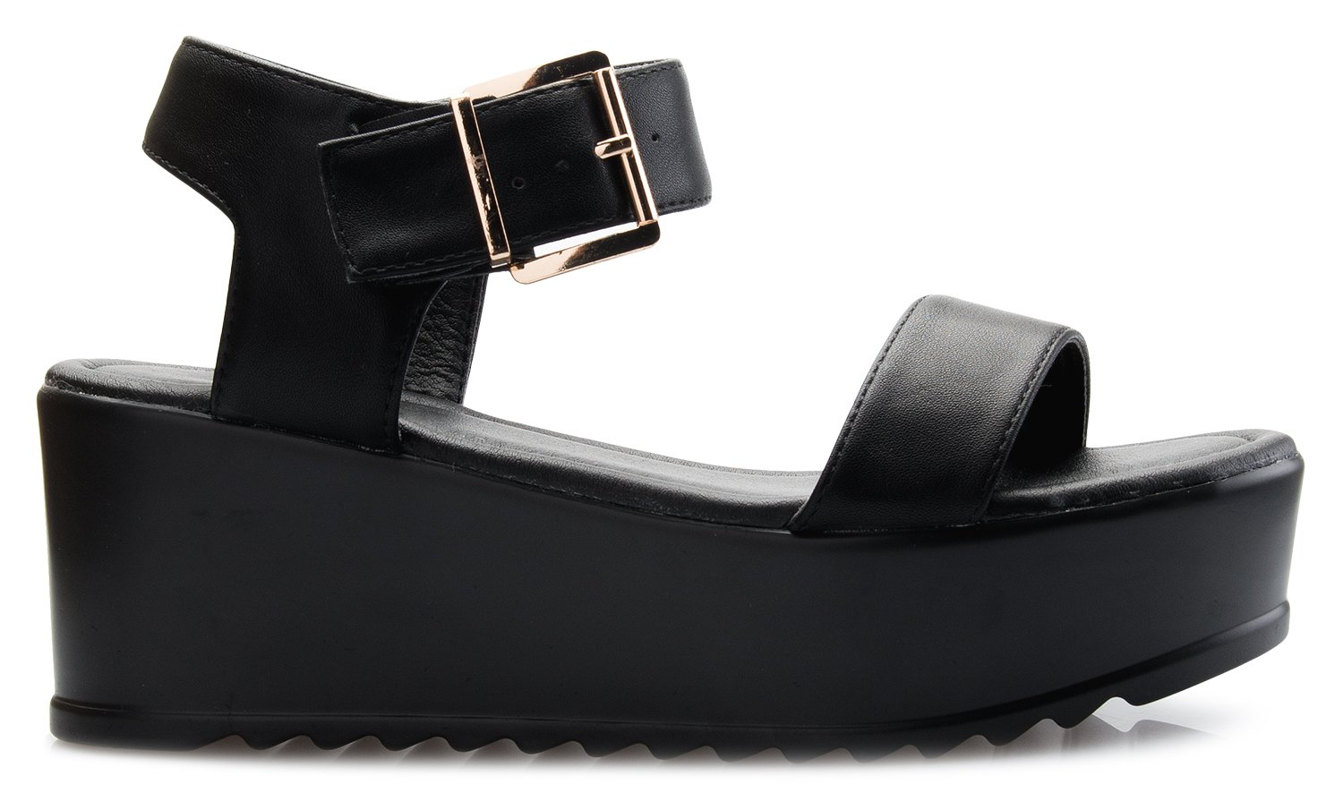 OLIVIA K Women's Platform Buckle Sandal - Open Peep Toe Fashion Chunky Ankle Strap Shoe,Black,8 B(M) US by OLIVIA K (Image #2)
