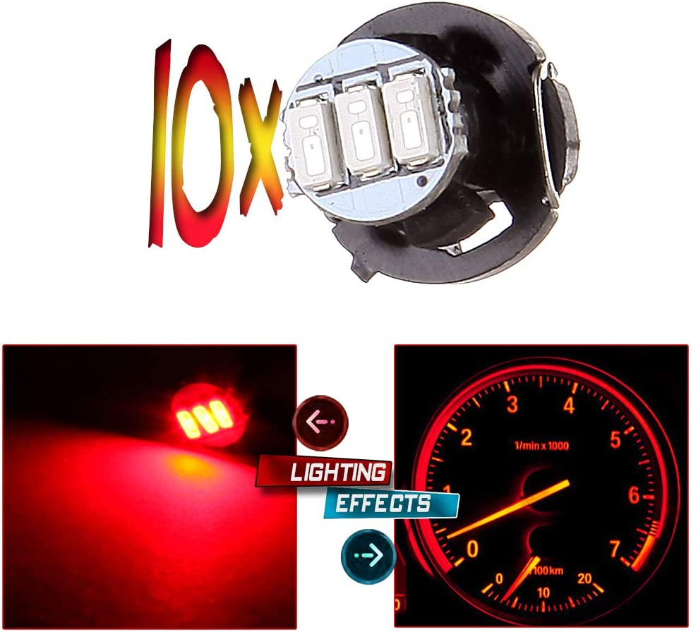 10 x T3 Red SMD LED Neo Wedge Light Instrument Cluster Panel Lamps Gauge Bulbs