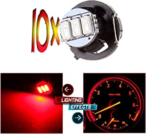 cciyu 10 Pack Red 3-3014SMD T4/T4.2 Neo Wedge LED Climate Control Light Bulbs HVAC Instrument Panel Lights