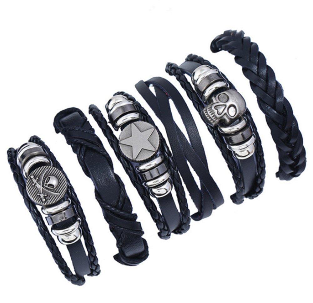 86a25a71cc1a Scrox 6 piezas Personalidad retro tejida pulsera de traje de cuero multicapa