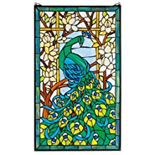 Design Toscano Peacock's Paradise Stained Glass Window Hanging Panel, 35 Inch, Stained Glass, Full Color