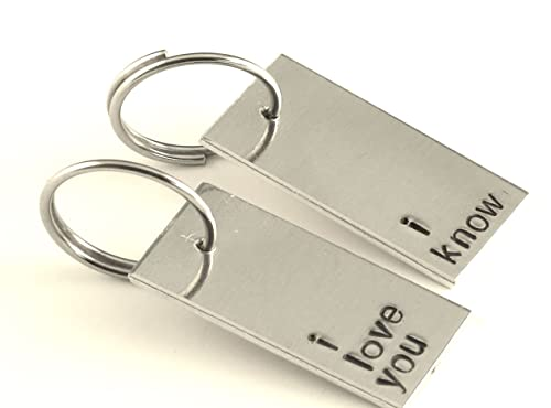 Star Wars Inspired - I Love You and I Know - A Pair of Hand Stamped Aluminum Keychains