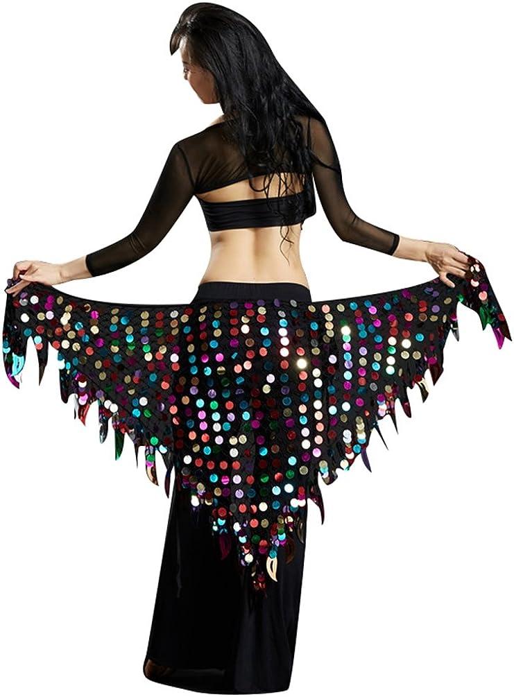 YuanDian Mujer Triángulo Danza Del Vientre Cinturon Cadera Pañuelo Bufanda Brillantes Lentejuelas Sirena Profesional Tribal Árabe Oriental Danza Cintura Cadena Faldas Ropa
