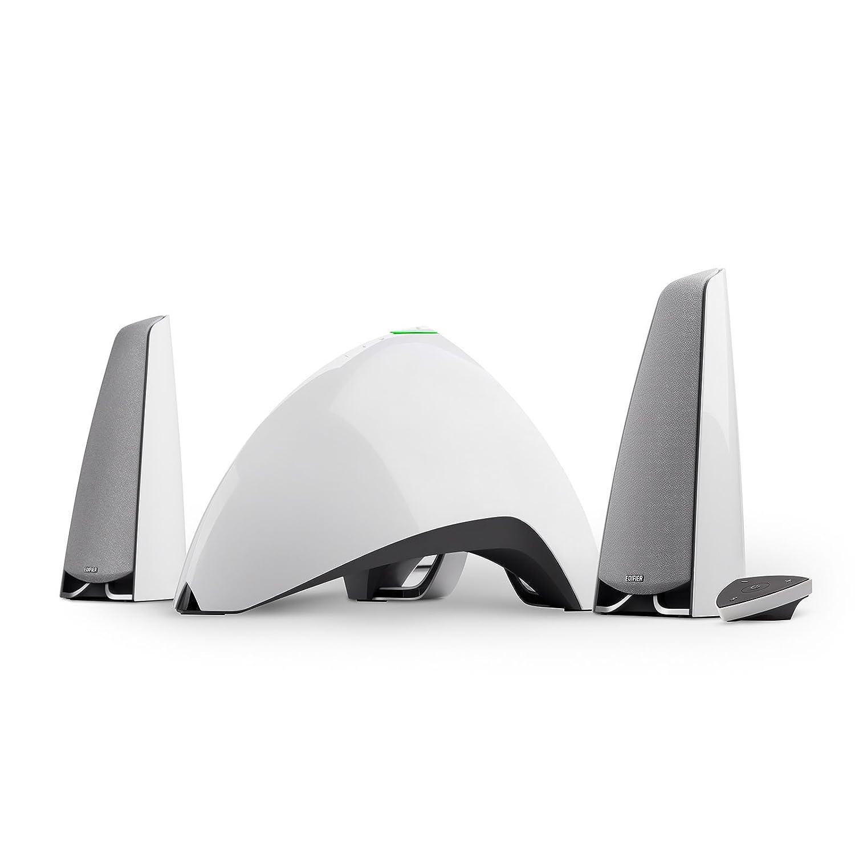 EDIFIER Prisma Encore - Kit d'enceintes 2.1 Bluetooth Blanc (64 Watts), idé al for TV, PC, Notebook, Tablette, Smartphone etc. idéal for TV E3360BT/WHITE