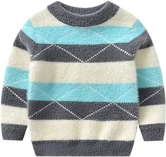 Suéter de Cuello Redondo Niños Niñas Jersey de Punto Manga Larga Sweater Pullover