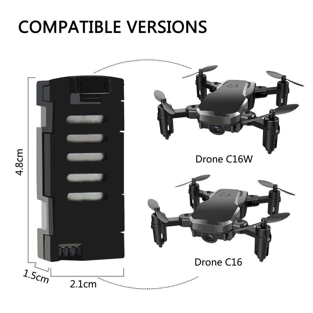 Conthfut Drone Baterias Drone C16, C16W, Batería LiPo 3.7V 500mAh ...