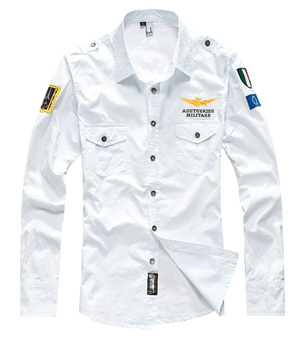 WSPLYSPJY Men Military Cotton Long Sleeve Button Down Slim Fit Dress Shirts
