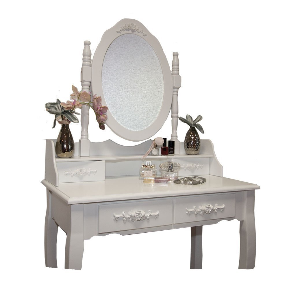 Makeup Table White Rose Dressing Table Makeup Desk Dresser With Stool 4