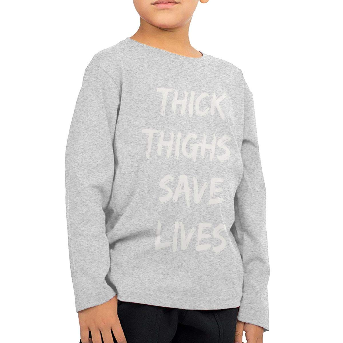 SKYAKLJA Thick Thighs Save Lives Childrens Gray Cotton Long Sleeve Round Neck Tee Shirt for Boy Or Girl