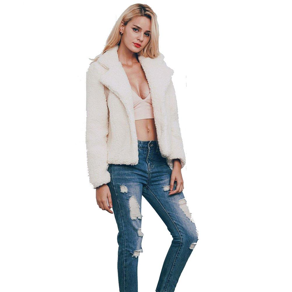 Rvxigzvi Womens Lapel Faux Shearling Coat Winter Boyfriend Street Style Short Faux Fur Jacket (White, L)