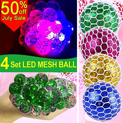 (4 Pack LED Mesh Stress Ball -Squeeze Balls with Glitter Grape Anti Stress Ball Stress Relief Fidget Toy for Kids & Adults Autism ADHD Sensory Fidget Summer Holiday Gift in Home Class Office Use)