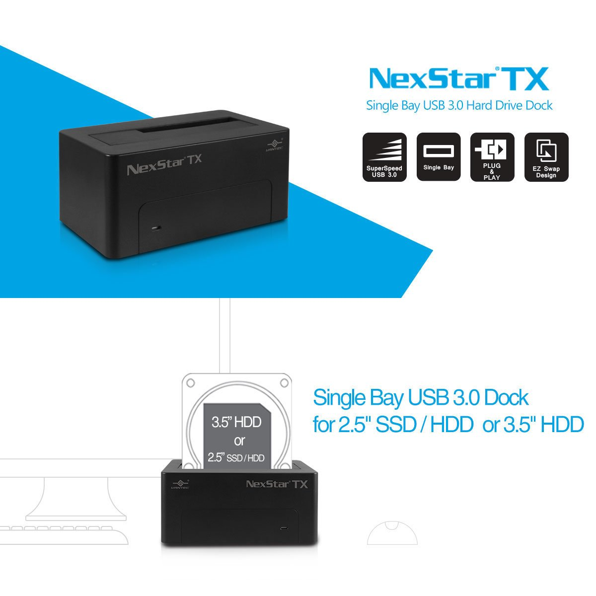 Amazon.com: Vantec Dual 2.5-inch/3.5-inch SATA a USB 3.0 ...