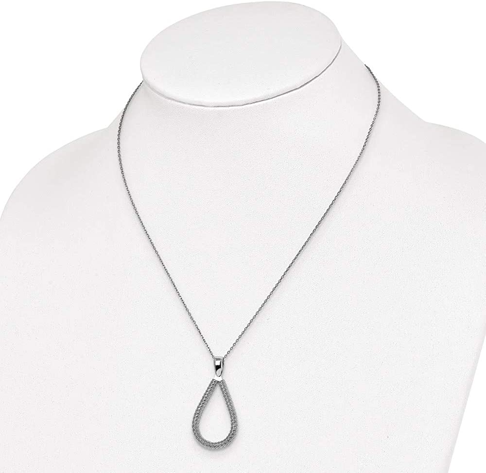 Jewelry Necklaces Fancy Necklaces Leslies Sterling Silver Rhodium-plated Teardrop with 2in ext Necklace