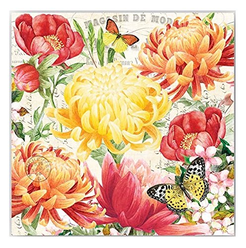 20-Count 3-Ply Paper Cocktail Napkins, Morning (Fancy Blossoms)