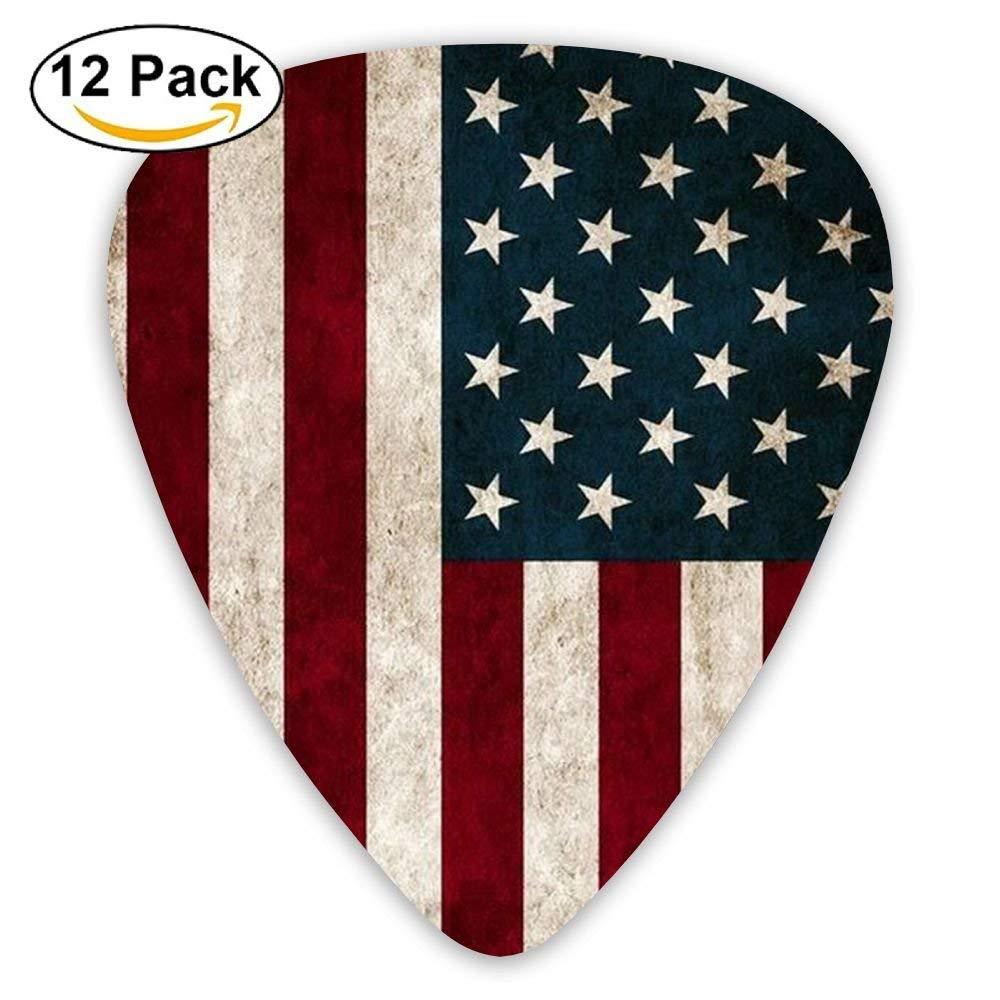 confezione da 12 0,96 mm misura grande 0,71 mm Plettri per chitarra in celluloide con bandiera americana 0,46 mm