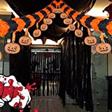 Halloween Decoration Hanging Paper Pumpkin Garland Chain Decor Windsock for Patio Lawn Garden Party and Holiday Decorations Scary Theme - 5 Pack (118 inch)