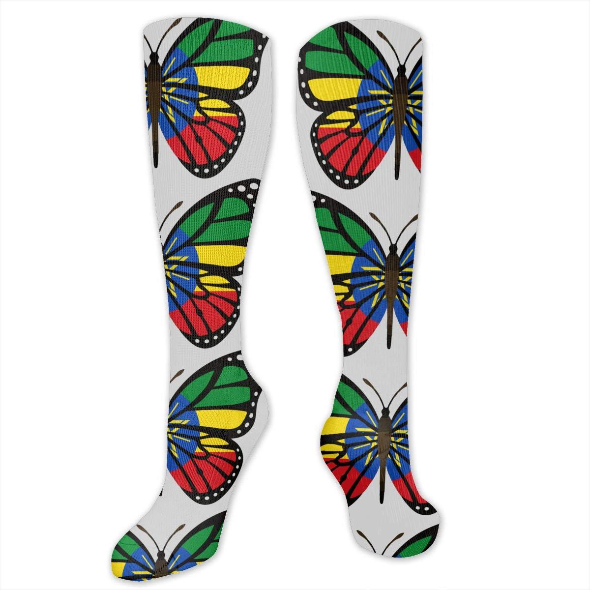 Unisex ButterFlag Ethiopia Flag Knee High Compression Thigh High Socks Soft Socks
