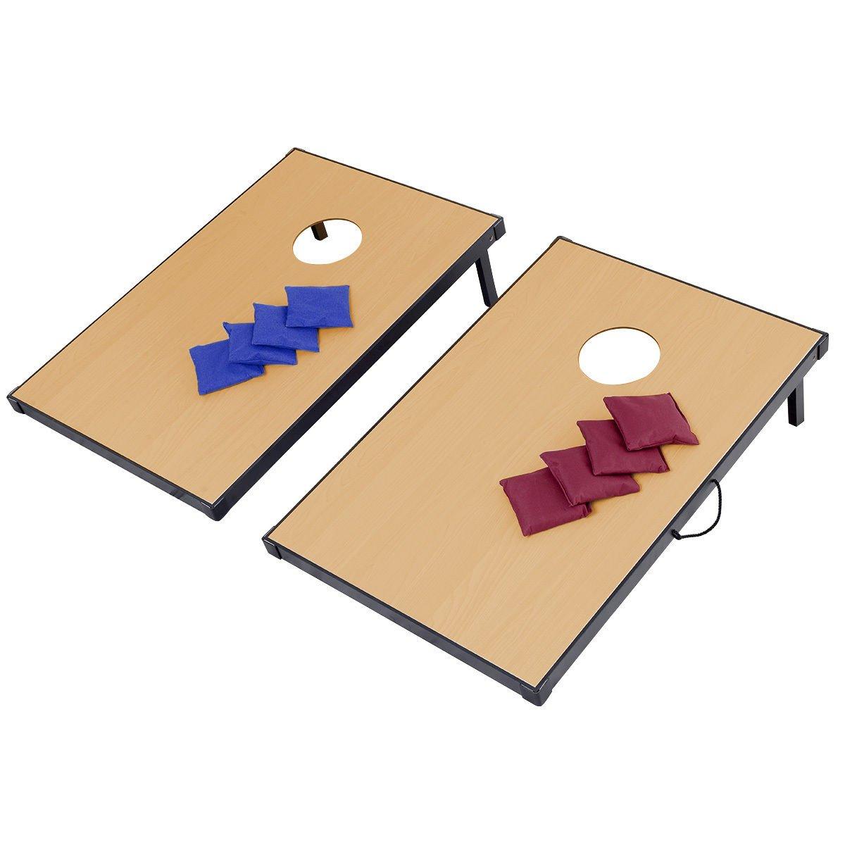 TANGKULA Cornhole Game Set Wood with 8 Bean Bags Portable Blue and Red Bean Bag set (47'' x 23.5'' x 3'')