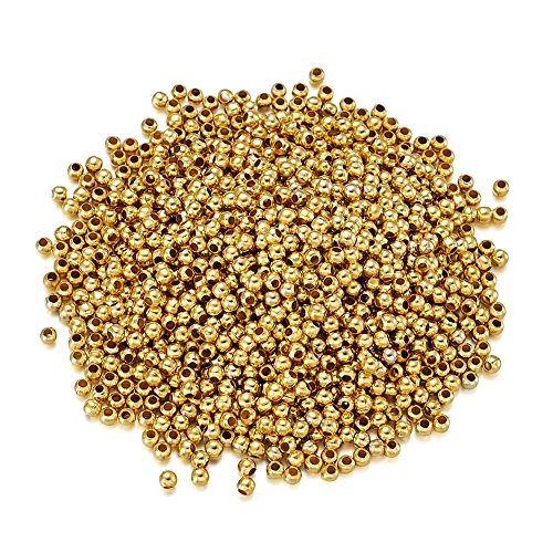 Craftdady About 2950Pcs/50g Golden Iron Mini Round Ball Spacer Beads 2.5x2mm Metal Tiny Smooth Rondelle Charm Loose Beads for DIY Jewelry Craft Making with 1.2mm Hole