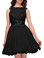 Wedtrend Women's Sheer Lace Homecoming Dress Short Prom Dress with Beads