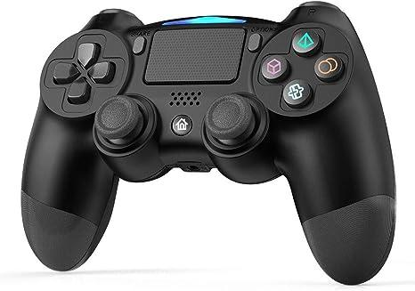 GEEKLIN - Mando para mando de PS4 para Playstation 4 / Playstation 3 / PC Touchpanel Joypad con doble vibración Negro: Amazon.es: Videojuegos