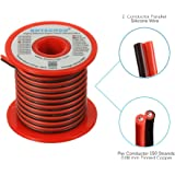 BNTECHGO 18 Gauge Flexible 2 Conductor Parallel Silicone Wire Spool Red Black High Resistant 200 deg C 600V for Single Color LED Strip Extension Cable Cord?model,lead wire 25ft Stranded Copper Wire