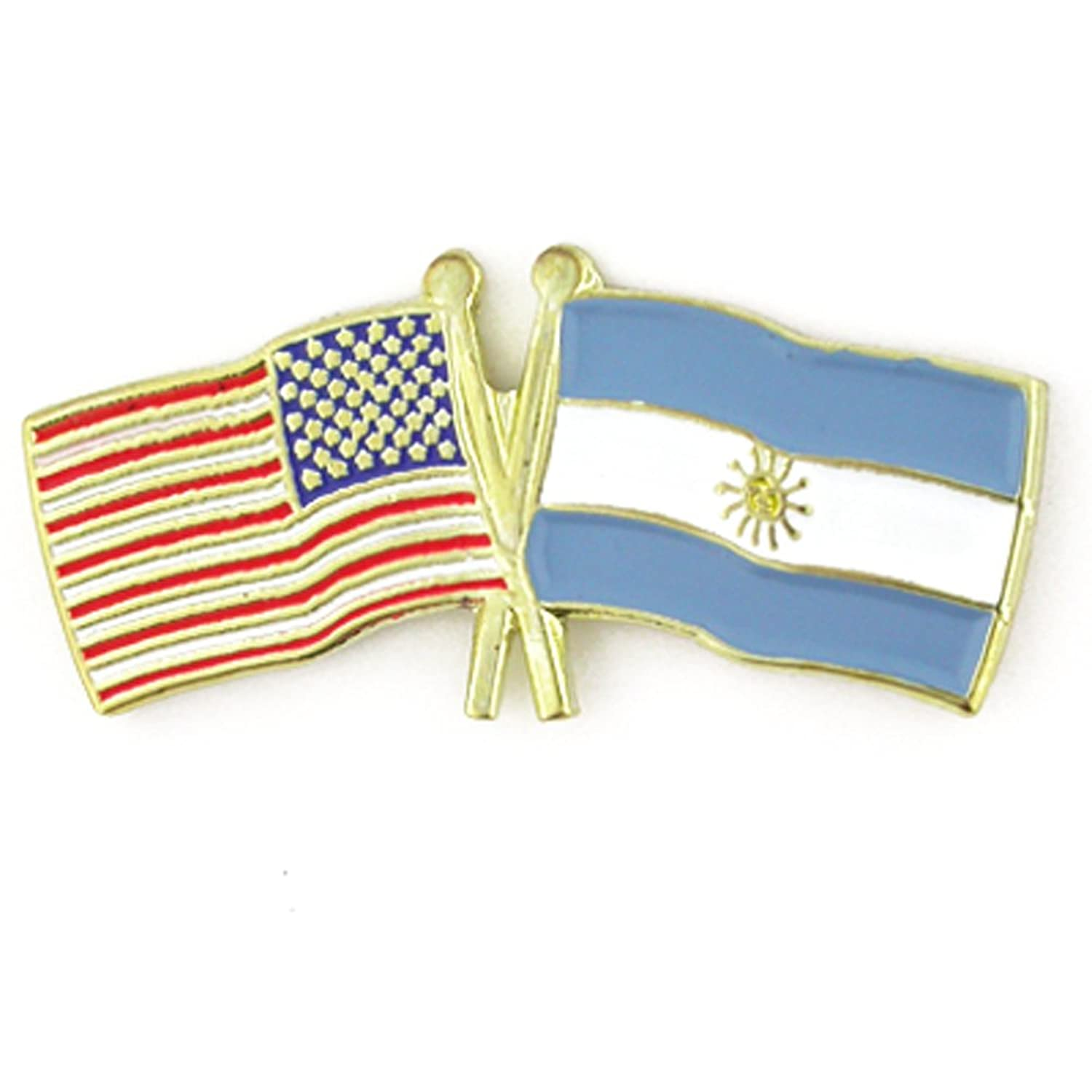 discount PinMart's USA and Argentina Crossed Friendship Flag Enamel Lapel Pin for cheap