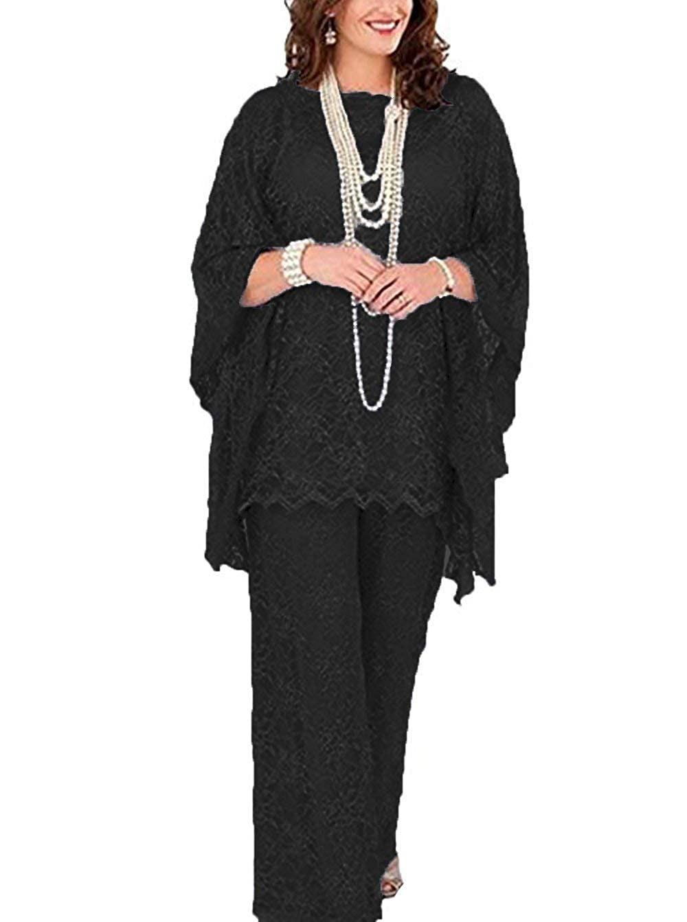 Black Women's 3 Pieces lace Mother of Bride Dress Pant Suits Long Sleeves