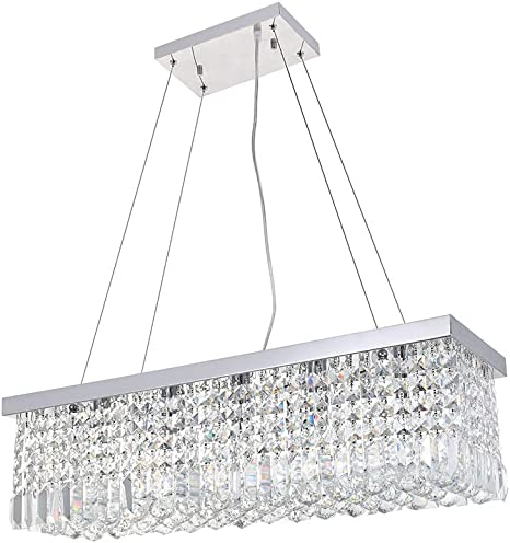 Dst Modern Crystal Chandelier Lighting Luxury Rectangle Raindrop Elegant Ceiling Lights Fixture Flush Mount Chrome Pendant Light For Dining Living Room Foyer Office Bedroom L31 5 X W10 X H9 Amazon Com,Blue Wall Living Room Ideas