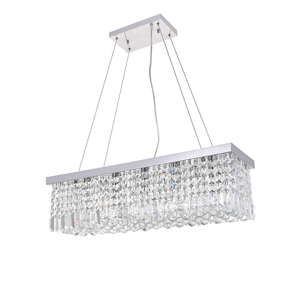 Dst Modern Crystal Chandelier Lighting, Luxury Rectangle Raindrop Elegant Ceiling Lights Fixture Flush Mount Chrome Pendant Light for Dining Living Room Foyer Office Bedroom L31.5'' x W10'' x H9''