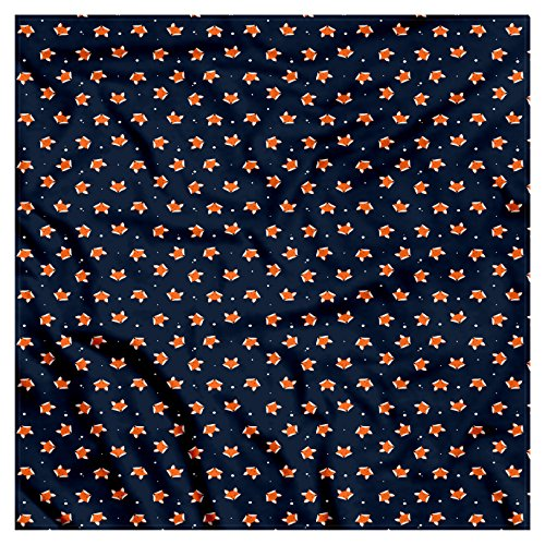Ambesonne Unisex Bandana, Fox Small Orange Forest Mammal, Blue Orange