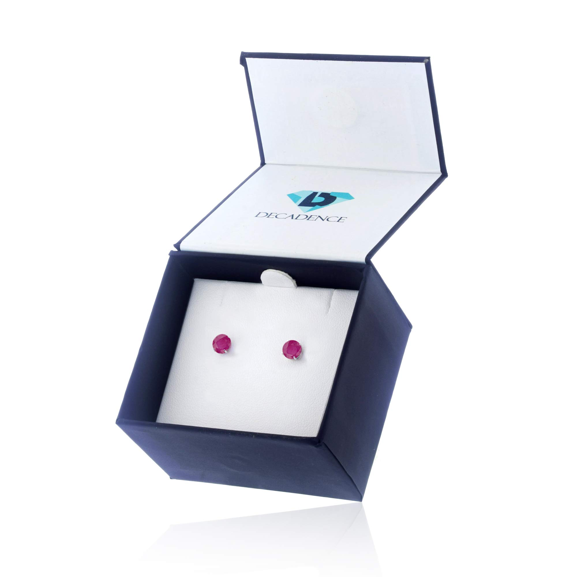 Genuine 14K Solid White Gold 4mm Round Natural Ruby July Birthstone Stud Earrings by Decadence (Image #6)