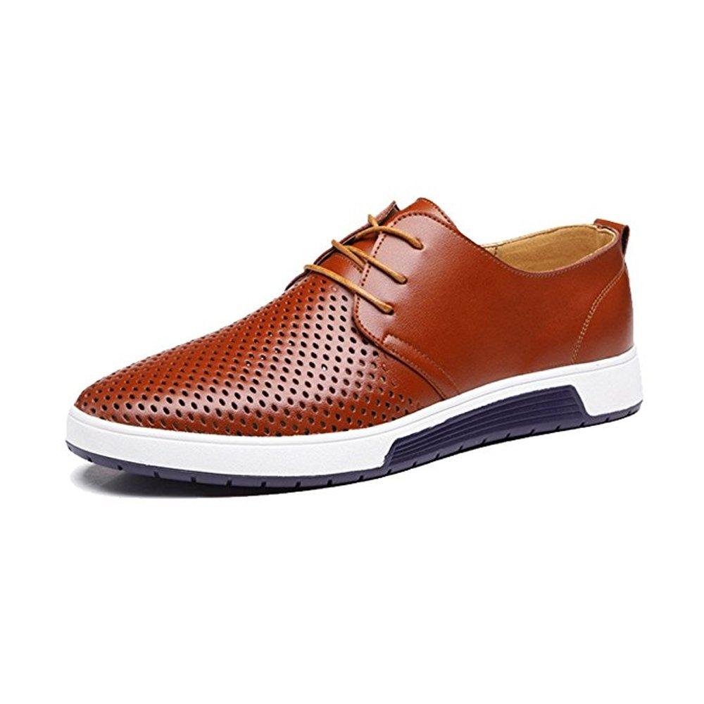 JACKY'S Merkmak New 2018 Men Casual Shoes Leather Summer Breathable Holes Luxury Brand Flat Shoe (Men's 10 = Women's 11 / EU 44, Brown - Orange)
