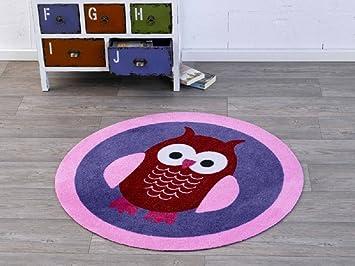 Velours Kinder Teppich Eule blau rosa rund 100 cm Designer ...