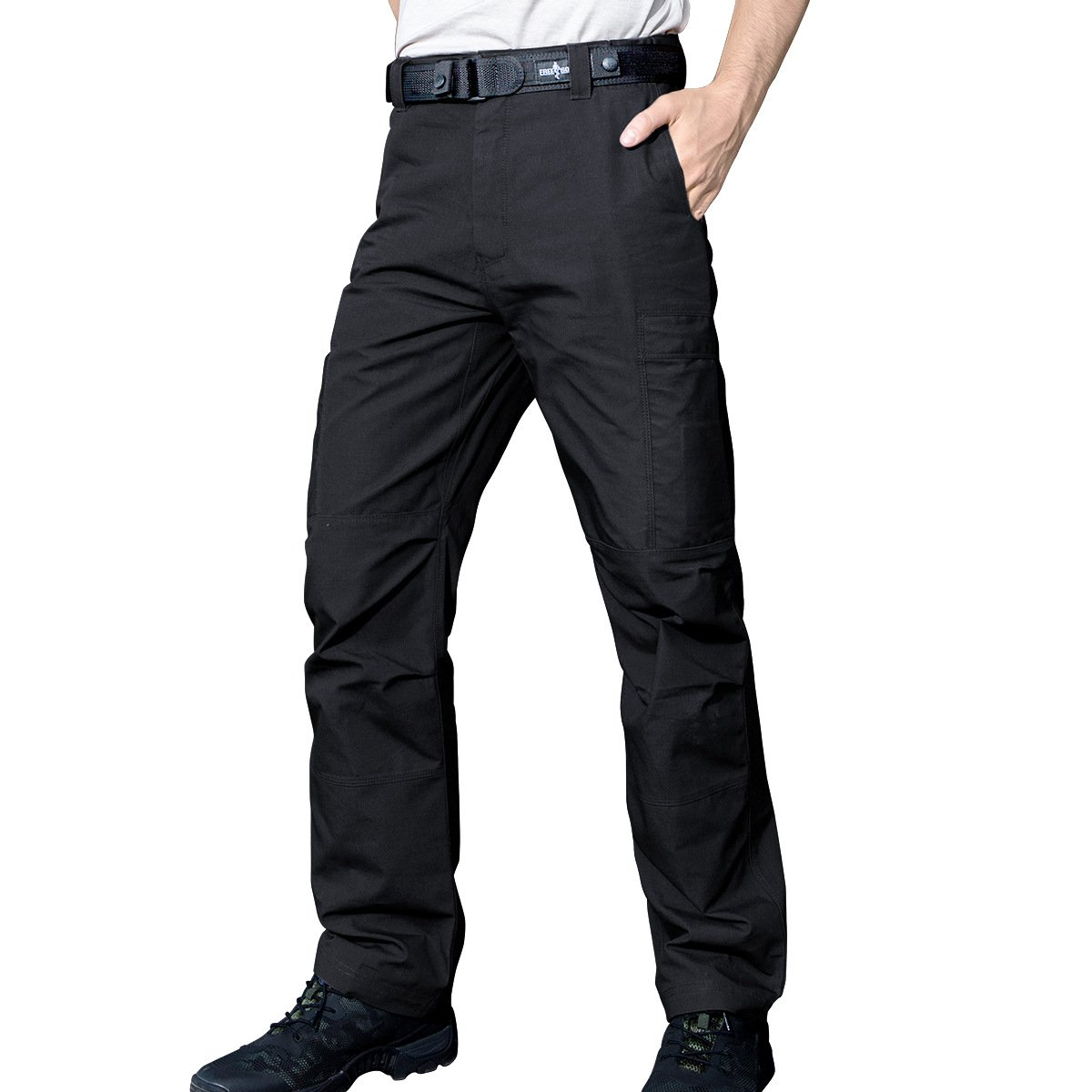 FREE SOLDIER Tactical Pants Mens Cargo Trousers Camping Explorer Water Resistance Pants(Black 38W/31.5L)