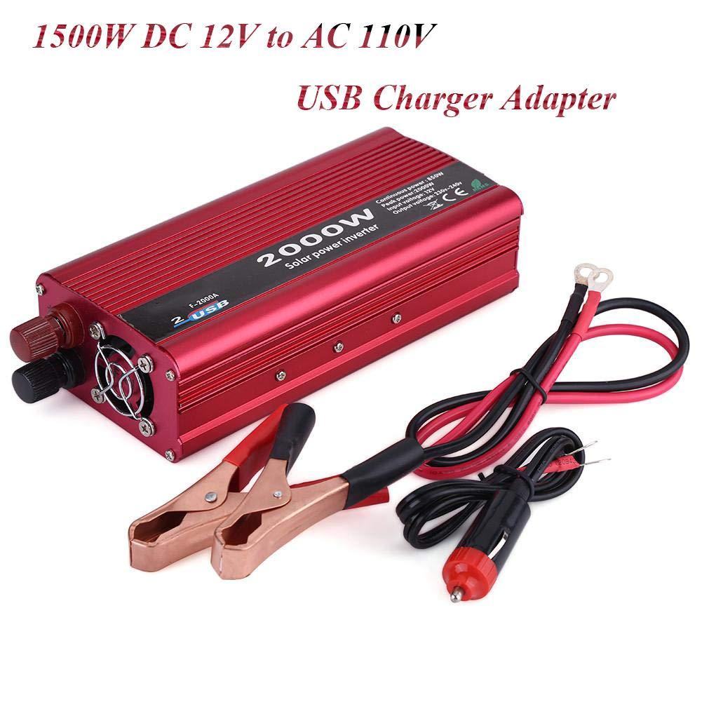 Qiilu 1500W Power Inverter DC 12V to AC 110V Car Power Inverter Converter USB Charger Adapter