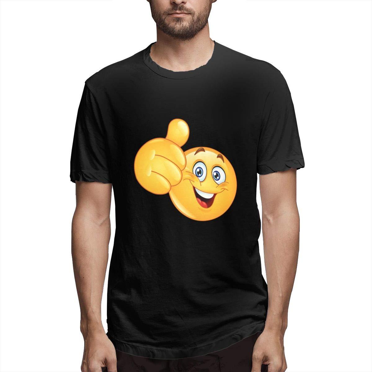 Seuriamin Smiley Face Thumb Up Mens Basic Jogging Black Short Sleeve Shirts