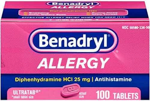 Benadryl Ultratab Antihistamine Allergy Medicine Tablets, 100 count
