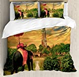 Elephant King Size Duvet Cover Set by Ambesonne, Elephant Dressing with Thai Kingdom Tradition Accessories Pagoda in Ayuthaya, Decorative 3 Piece Bedding Set with 2 Pillow Shams, Green Marigold