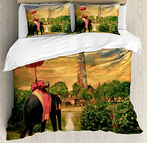 Elephant King Size Duvet Cover Set by Ambesonne, Elephant Dressing with Thai Kingdom Tradition Accessories Pagoda in Ayuthaya, Decorative 3 Piece Bedding Set with 2 Pillow Shams, Green Marigold by Ambesonne