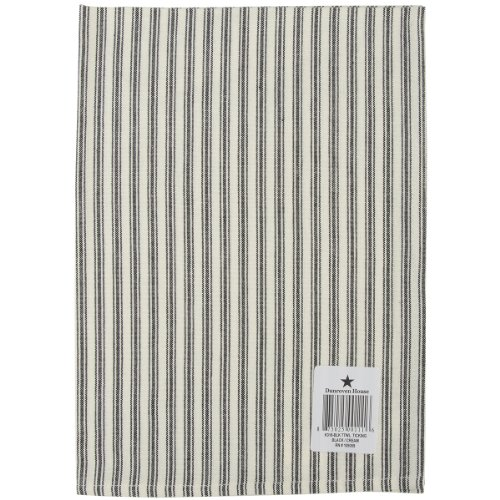 Dunroven House K318-BLK Ticking Stripe Cream Background Dishtowel, 20-Inch x 28-Inch, Black (Cream Ticking)