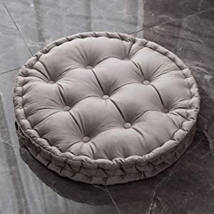 vctops Round Floor Pillow with Handle Solid Thick Chair Cushion Super Soft Comfy Seat Cushion Meditation Cushion for Yoga Living Room Sofa Balcony Outdoor (Light Grey, Diameter 24