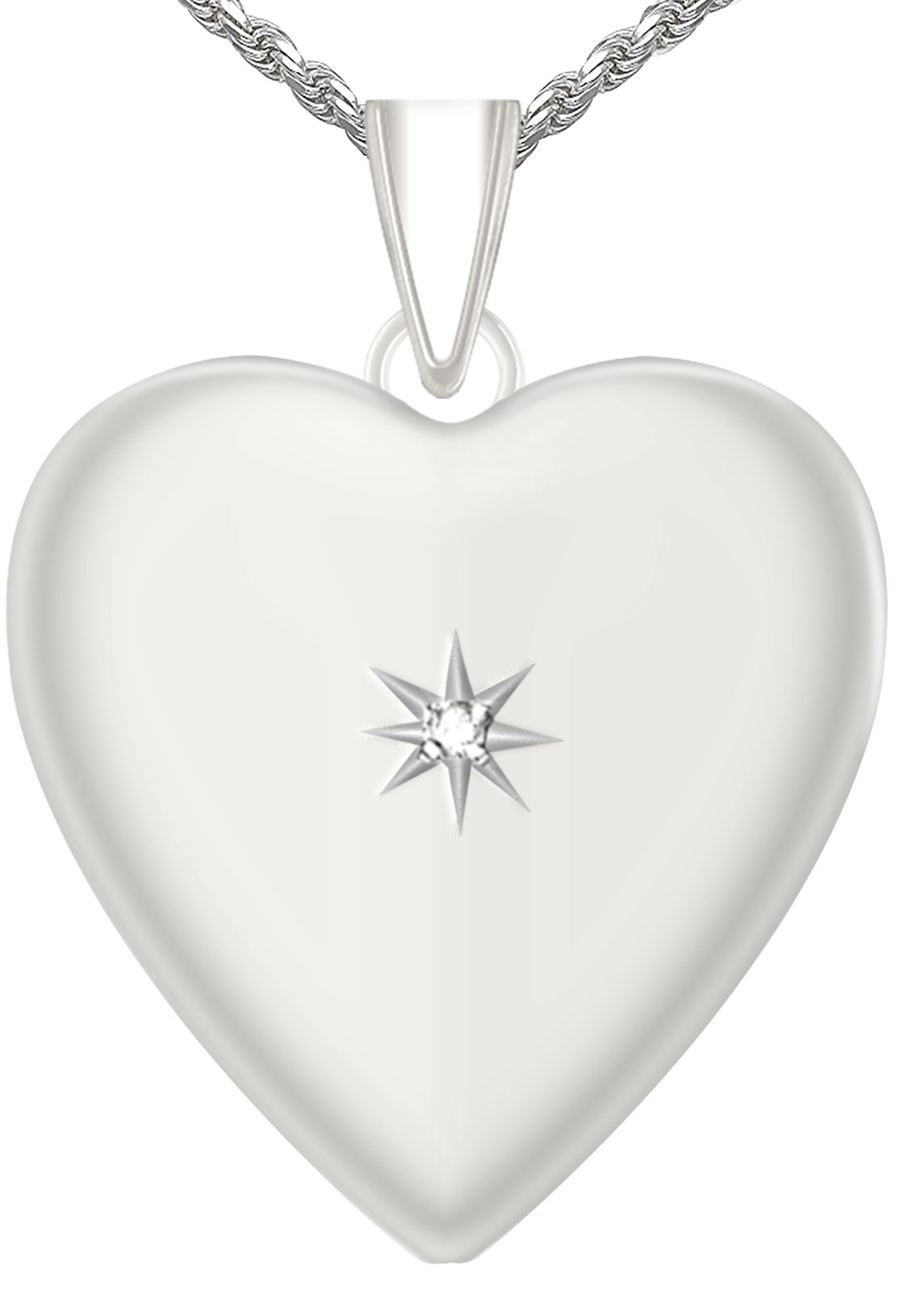 1.25in 0.925 Sterling Silver 2 Photo Heart Locket with Diamond Accent Pendant 3.3mm Rope Necklace, 24''