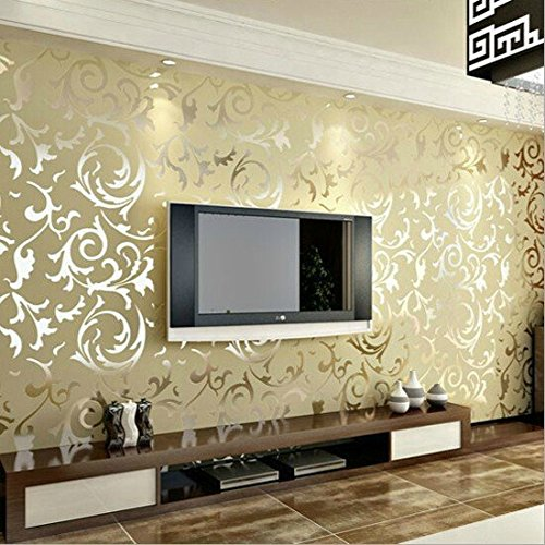 LOHOME(TM) European Style Acanthus leaf Victorian Embossed Textured Nonwovens Wallpaper Wall Sticker(Apricot) - Acanthus Leaf
