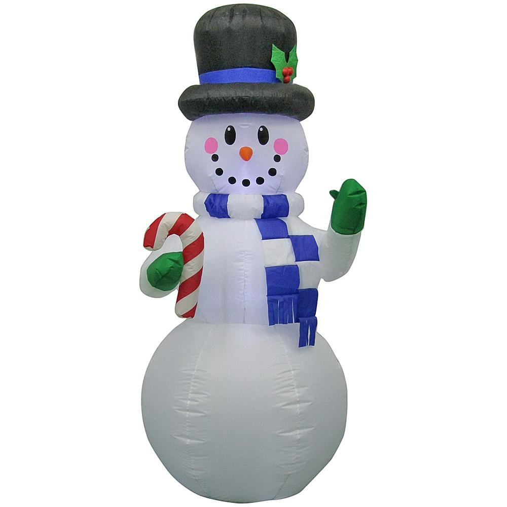 Home Accents 6.5 Foot Gemmy Christmas Airblown Inflatable LED Snowman with top hat and Candy Cane