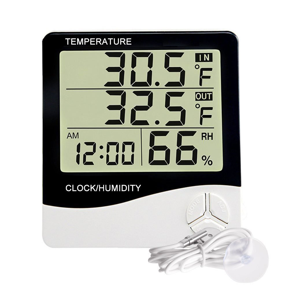 Digital Alarm Clock Large LED Display, Snooze, Date display, Temperature and Smart light (White) Bashley